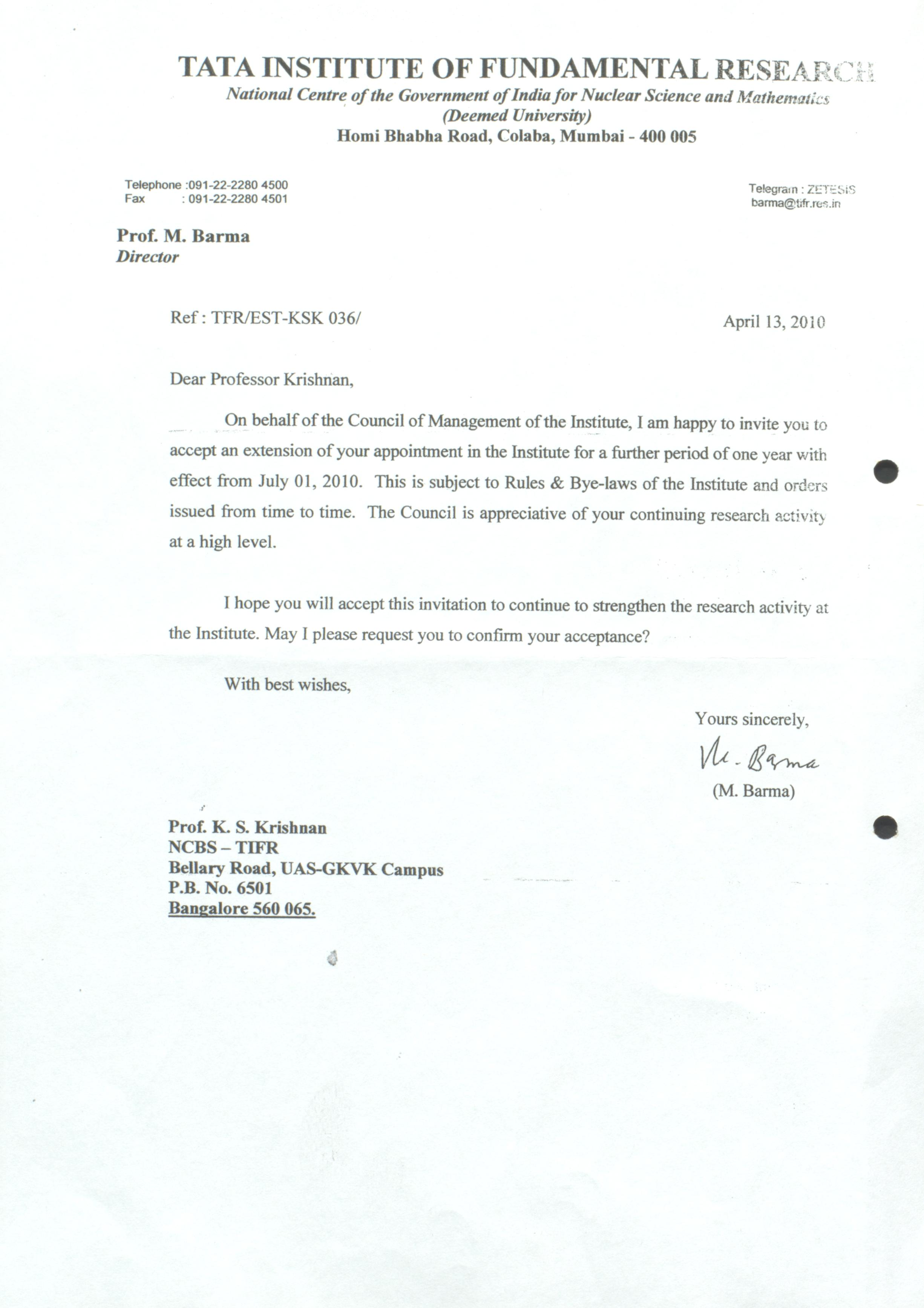 Letter from M  Barma (Director, TIFR) to K  S  Krishnan